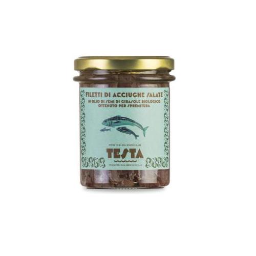 Filetti di alici salate in olio di semi di girasole bio 205 GR