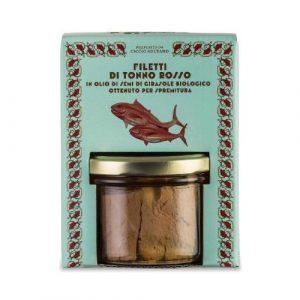 Filetti Tonno Rosso in olio di semi di girasole bio 190 GR